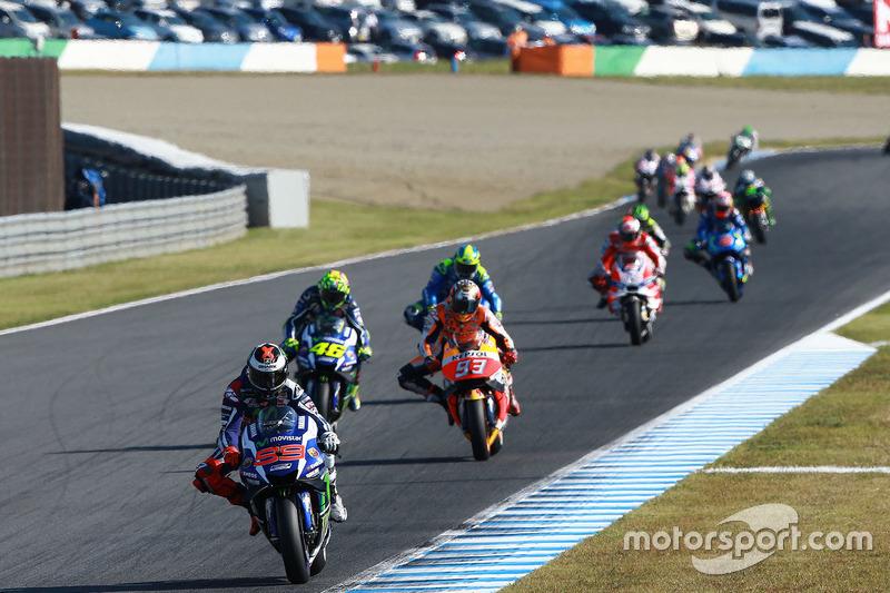 Jorge Lorenzo, Yamaha Factory Racing; Marc Marquez, Repsol Honda Team; Valentino Rossi, Yamaha Facto