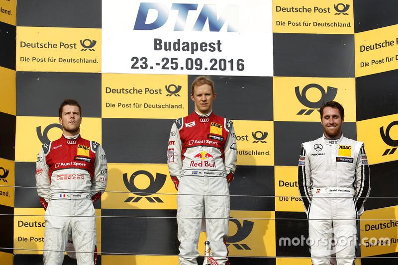 Podium: Sieger Mattias Ekström, Audi Sport Team Abt Sportsline, Audi A5 DTM; 2. Adrien Tambay, Audi Sport Team Rosberg, Audi RS 5 DTM; Daniel Juncadella, Mercedes-AMG Team HWA, Mercedes-AMG C63 DTM