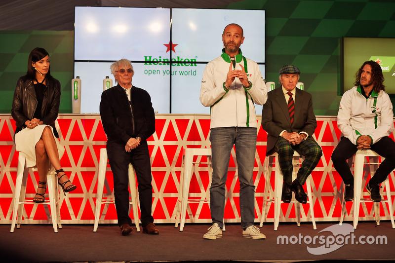 (L to R): Stephanie Sigman, Actress; Bernie Ecclestone, Heineken Global Head of Brand; Jackie Stewar