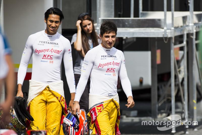 Sean Gelael, Pertamina Campos Racing; Mitch Evans, Pertamina Campos Racing