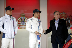 Valtteri Bottas, Williams y Felipe Massa, Williams, con la FIA Jean Todt, Presidente,