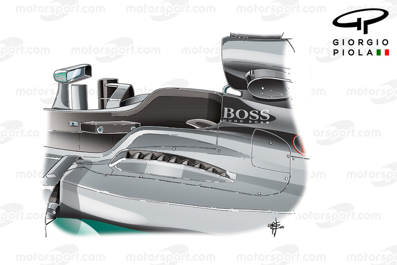 Mercedes F1 W07: Lamellen neben dem Cockpit