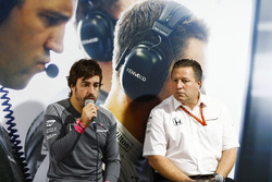 Fernando Alonso, McLaren, Zak Brown, Executive Director, McLaren Technology Group, host a press conference