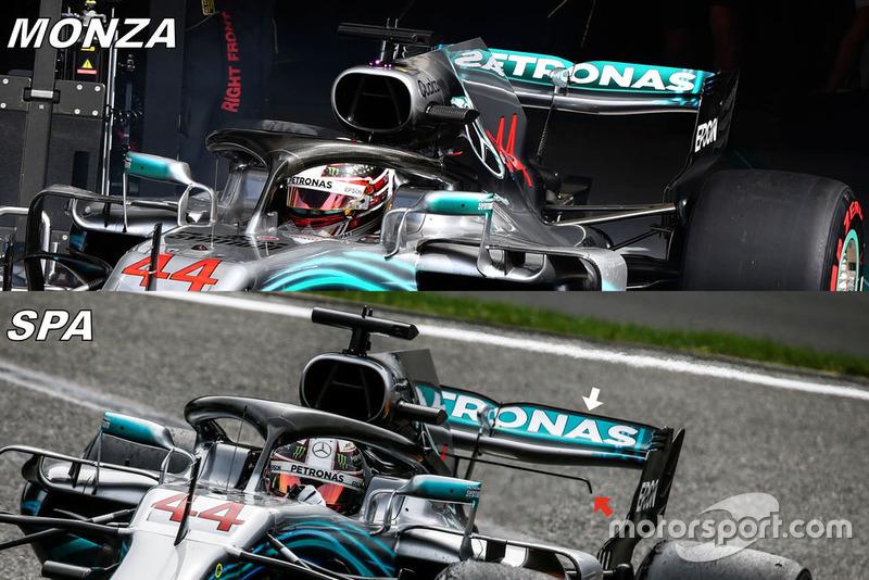 Comparación de alerones traseros del Mercedes W09
