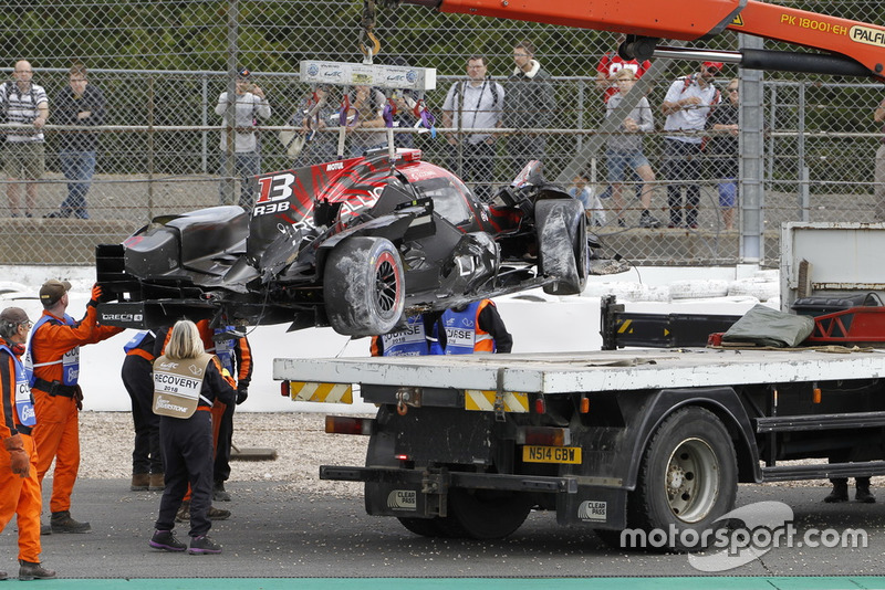 La voiture #1 Rebellion Racing Rebellion R-13: Andre Lotterer, Neel Jani, Bruno Senna après son crash