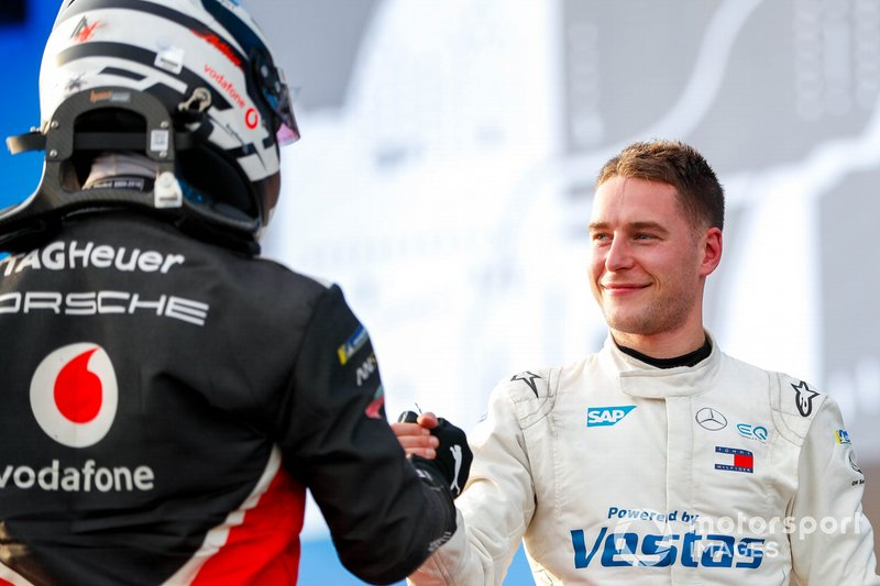 Andre Lotterer, Porsche, Stoffel Vandoorne, Mercedes Benz EQ congratulate each other on the podium