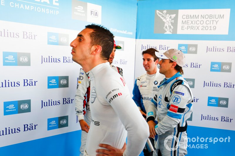 Sébastien Buemi , Nissan e.Dams watches the screens during Super Pole as Felipe Massa , Venturi Formula E chats with Lucas Di Grassi , Audi Sport ABT Schaeffler and Antonio Felix da Costa , BMW I Andretti Motorsports