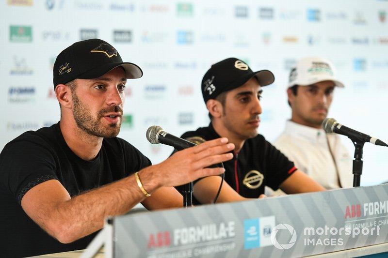 Jean-Eric Vergne, DS TECHEETAH,Sébastien Buemi, Nissan e.Dams,Nelson Piquet Jr., Panasonic Jaguar Racing, and Lucas Di Grassi, Audi Sport ABT Schaeffler in the press conference
