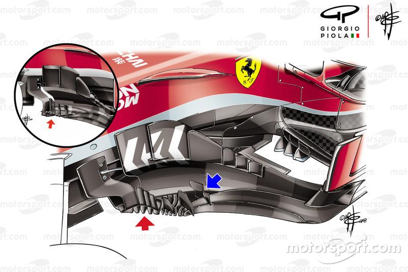 Bargeboard del Ferrari SF71H en EE UU
