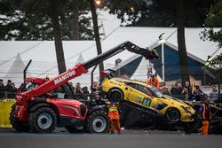 #64 Corvette Racing Chevrolet Corvette C7-R: Oliver Gavin, Tommy Milner, Jordan Taylor after a heavy crash