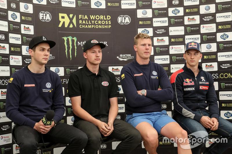 Anton Marklund, Volkswagen Motorsport; Kevin Eriksson, Olsbergs MSE; Johan Kristoffersson, Volkswagen Team Sweden; Timmy Hansen, Team Peugeot Hansen