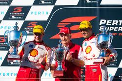Podium: race winner Scott McLaughlin, Team Penske Ford, second place  Fabian Coulthard, Team Penske Ford, Roger Penske team owner of DJR Team Penske