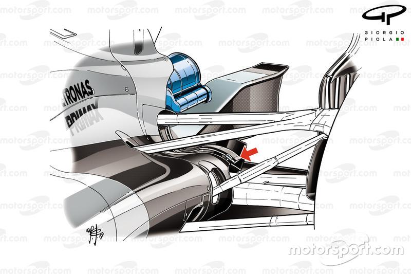 Équerre arrière sur la Mercedes F1 W08