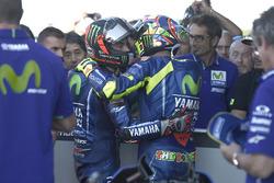 2. Maverick Viñales, Yamaha Factory Racing; 3. Valentino Rossi, Yamaha Factory Racing