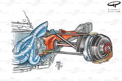 Ferrari F2003-GA exhaust and rear brake assembly