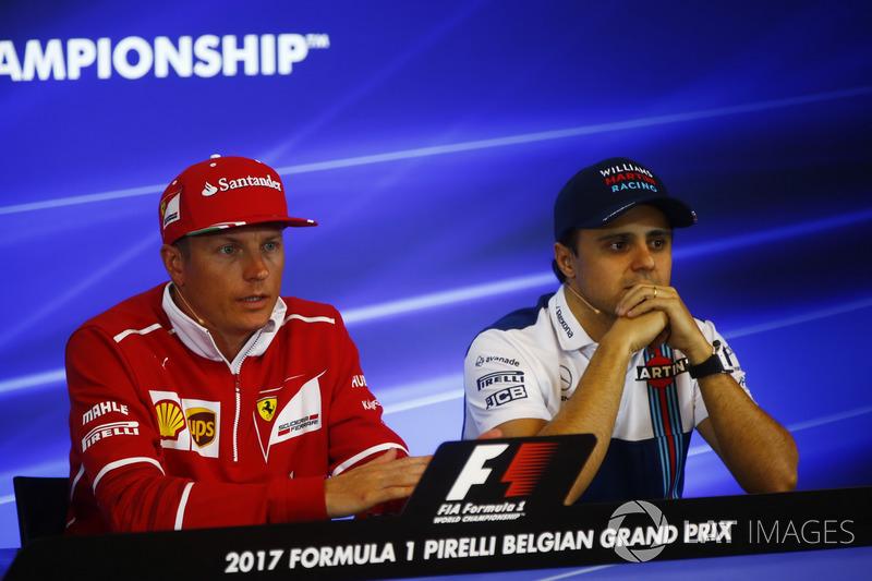 Kimi Raikkonen, Ferrari, Felipe Massa, Williams, in the FIA press conference