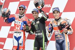 Polesitter Johann Zarco, Monster Yamaha Tech 3, second place Danilo Petrucci, Pramac Racing, third place Marc Marquez, Repsol Honda Team