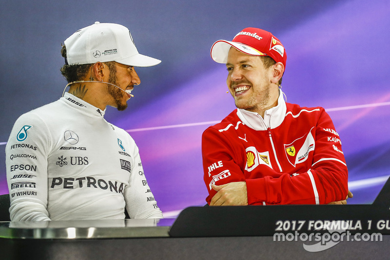 Post-race press conference: race winner Sebastian Vettel, Ferrari, second place Lewis Hamilton, Mercedes AMG F1