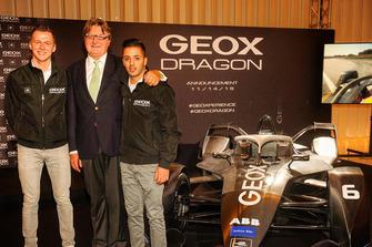 Maximilian Günther y Antonio Fuoco con Mario Moretti Polegato, Presidente y Fundador de GEOX.