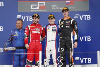 Podio: il vincitore della gara David Beckmann, Trident, il secondo classificato Joey Mawson, Arden International, il terzo classificato Richard Verschoor, MP Motorsport