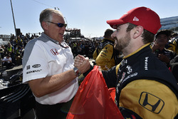 James Hinchcliffe, Schmidt Peterson Motorsports Honda and Art St Cyr celebrates the win in victory lane