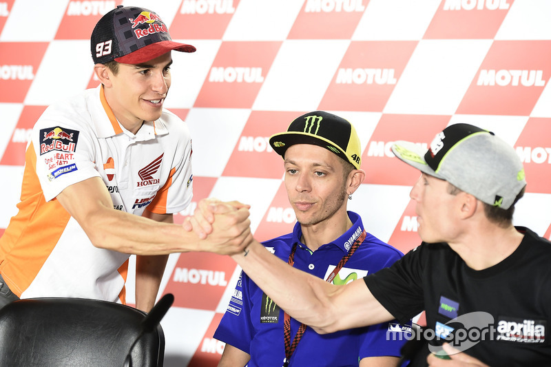 Marc Marquez, Repsol Honda Team; Valentino Rossi, Yamaha Factory Racing; Aleix Espargaro, Aprilia Racing Team Gresini