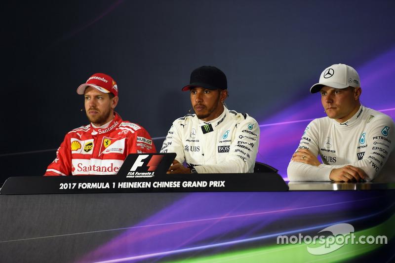 Sebastian Vettel, Ferrari, Lewis Hamilton, Mercedes AMG F1 and Valtteri Bottas, Mercedes AMG F1 in the Press Conference
