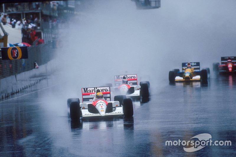 Start: Ayrton Senna ve Gerhard Berger, McLaren MP4/6 Honda, Nigel Mansell, Williams FW14 Renault, Nelson Piquet, Benetton B191 Ford ve Jean Alesi, Ferrari 643