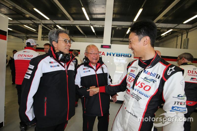 Toshio Sato, TMG President, Koei Saga, Chairman of TMG and Kazuki Nakajima, Toyota Gazoo Racing