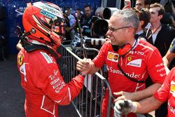 Pole sitter Kimi Raikkonen, Ferrari celebrates in parc ferme