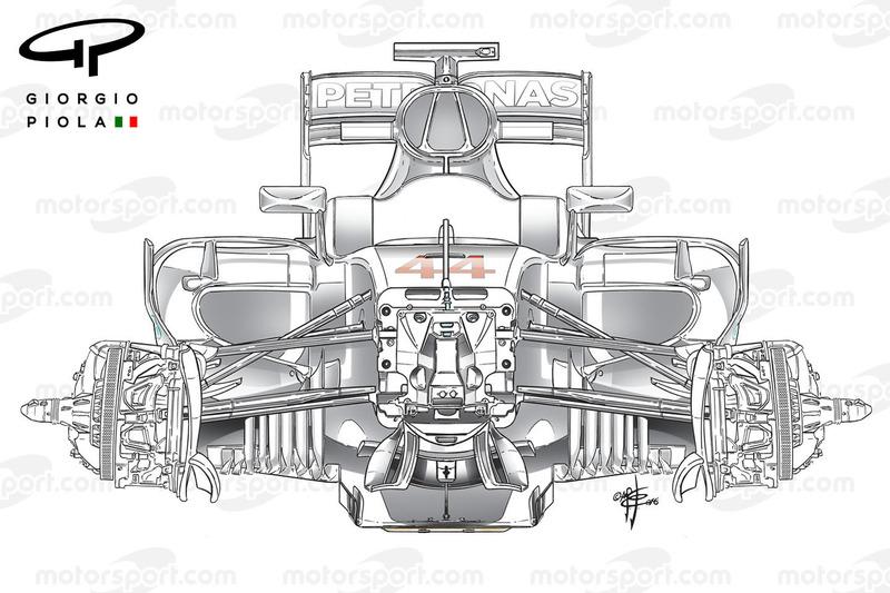 Mercedes W07, Vorderradaufhängung, 1. Blick