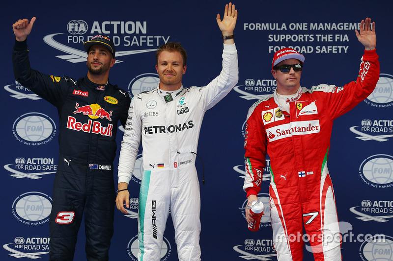 Polesitter Nico Rosberg, Mercedes AMG F1 Team, 2. Daniel Ricciardo, Red Bull Racing, 3. Kimi Räikkönen, Ferrari