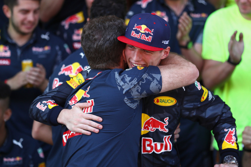 Christian Horner, Red Bull Racing Team Principal congratulates Max Verstappen, Red Bull Racing after