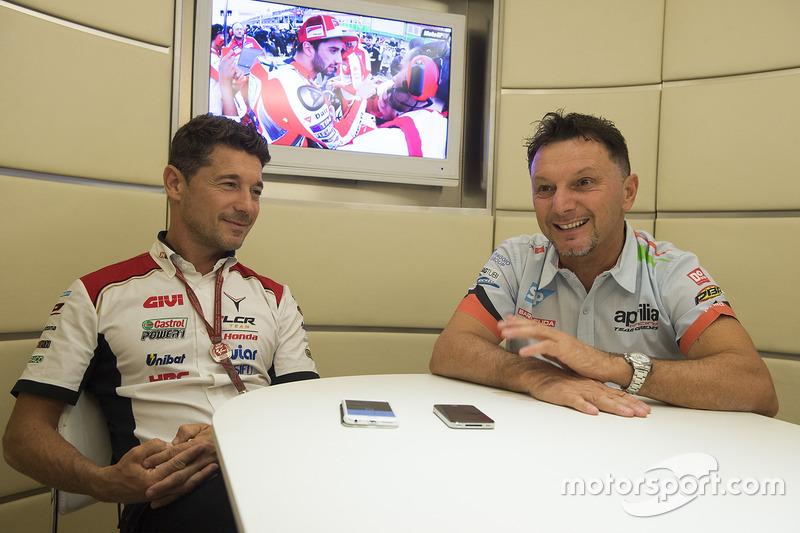 Lucio Cecchinello, Teamchef LCR Honda, mit Fausto Gresini, Teamchef Aprilia Gresini Racing