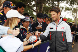Romain Grosjean, Haas F1 Team signs autographs for the fans