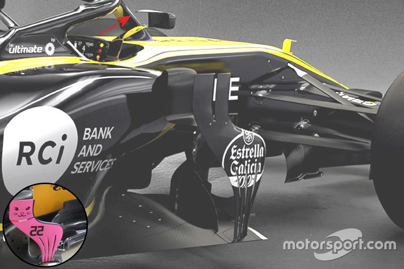 Renault RS18 vs. RS17: Windabweiser und Rückspiegel, Vergleich