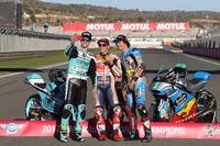 Il Campione del Mondo della Moto3 Joan Mir, Leopard Racing, il Campione del Mondo della MotoGP Marc Marquez, Repsol Honda Team, il Campione del Mondo della Moto2, Franco Morbidelli, Marc VDS