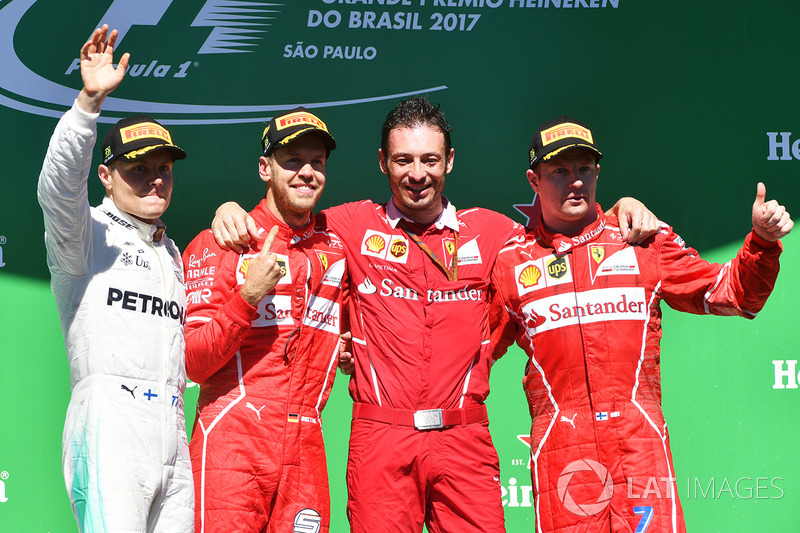 Brezilya GP - Kazanan Sebastian Vettel, 2. Valtteri Bottas, 3. Kimi Raikkonen