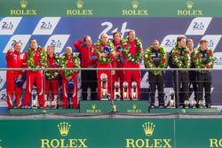 LMGT Am podium: class winners #62 Scuderia Corsa Ferrari 458 Italia: Bill Sweedler, Jeff Segal, Townsend Bell, second place #83 AF CorseFerrari 458 Italia: François Perrodo, Emmanuel Collard, Rui Aguas, third place #88 Abu Dhabi Proton Competition Porsche 911 RSR: Khaled Al Qubaisi, Patrick Long, David Heinemeier Hansson