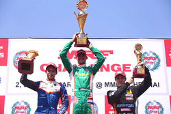 Podium race 1: winner Rinus Van Kalmthout, second place Presley Martono, third place Felipe Drugovich