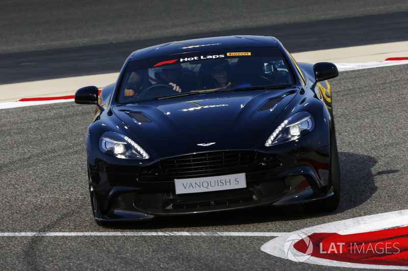 Geri Horner takes a Hot Lap in an Aston Martin Vanquish S driven by husband Christian Horner