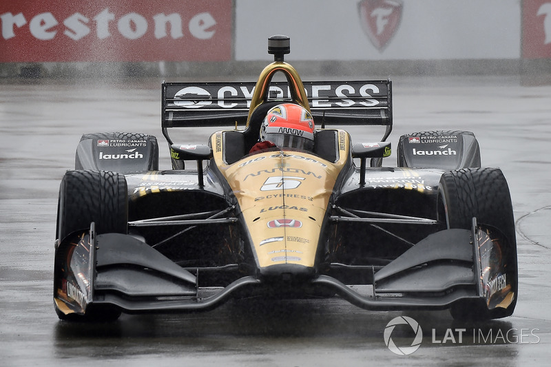 James Hinchcliffe, Schmidt Peterson Motorsports Honda qualifying in the rain