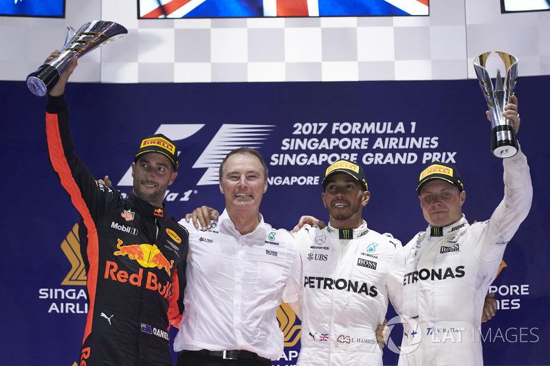 2017: 1. Lewis Hamilton, 2. Daniel Ricciardo, 3. Valtteri Bottas