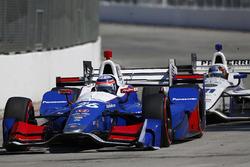 Takuma Sato, Andretti Autosport Honda leads J.R. Hildebrand, Ed Carpenter Racing Chevrolet