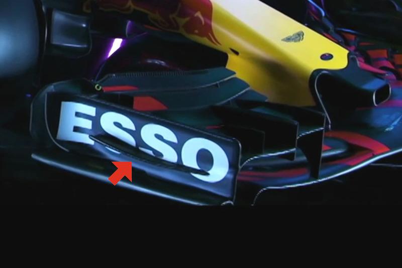 Détails de l'aileron avant de la Red Bull Racing RB13