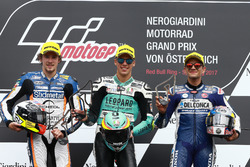 Podium: second place Philipp Ottl, Schedl GP Racing, Race winner Joan Mir, Leopard Racing, third place Jorge Martin, Del Conca Gresini Racing Moto3