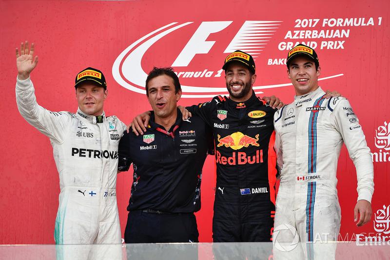 Azerbaycan GP, Podyum: Yarış galibi Daniel Ricciardo, Red Bull Racing, 2. Valtteri Bottas, Mercedes AMG F1 3. Lance Stroll, Williams