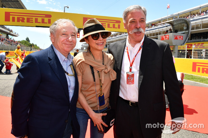 Jean Todt, FIA President and wife Michelle Yeoh, Chase Carey, Chief Executive Officer and Executive