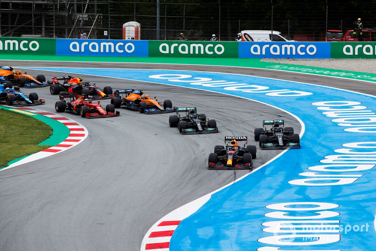 Max Verstappen takes the lead at the start