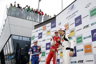 Podium: Race winner Mick Schumacher, PREMA Theodore Racing Dallara F317 - Mercedes-Benz, second place Robert Shwartzman, PREMA Theodore Racing Dallara F317 - Mercedes-Benz, #third place Alex Palou, Hitech Bullfrog GP Dallara F317 - Mercedes-Benz